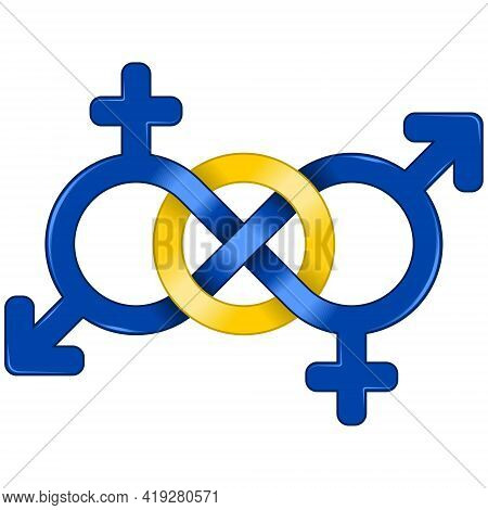 Symbol Design Of Man And Woman United By Infinity, Girl And Boy Intertwined With The Symbol Of Infin