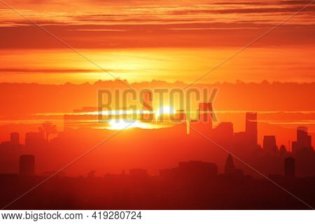 City of Los Angeles downtown skyline, sunrise. Double exposure photo effect.