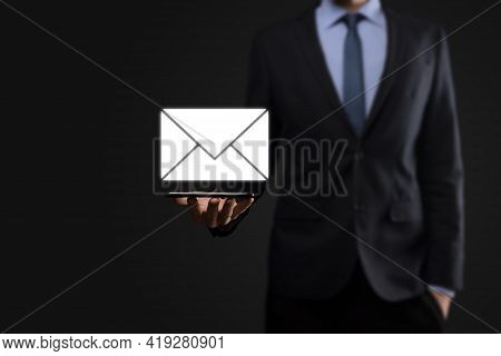 Email And User Icon,sign,symbol Marketing Or Newsletter Concept, Diagram.sending Email.bulk Mail.ema