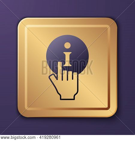 Purple Information Icon Isolated On Purple Background. Gold Square Button. Vector