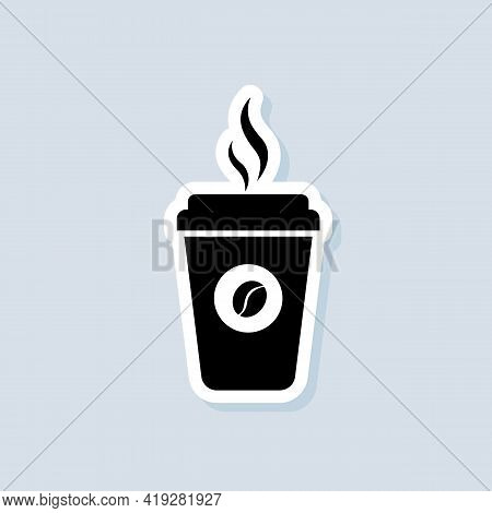 Hot Coffee Cup Sticker, Logo, Icon. Vector. Paper Mug. Disposable Coffee Cup Icon With Beans Logo. C