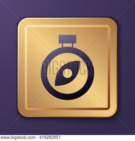 Purple Compass Icon Isolated On Purple Background. Windrose Navigation Symbol. Wind Rose Sign. Gold