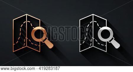Gold And Silver Search Location Icon Isolated On Black Background. Magnifying Glass With Pointer Sig