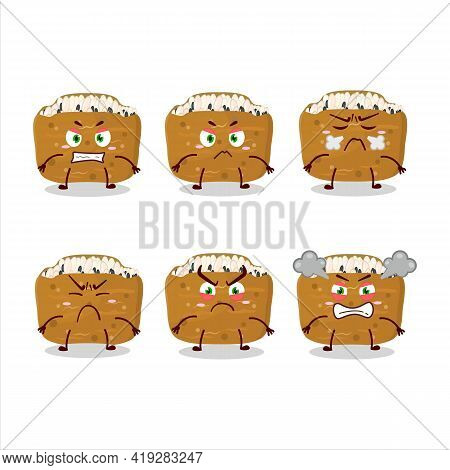 Inarizushi Cartoon Character With Various Angry Expressions
