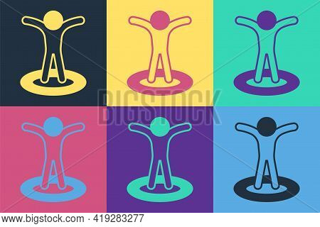 Pop Art Map Marker With A Silhouette Of A Person Icon Isolated On Color Background. Gps Location Sym