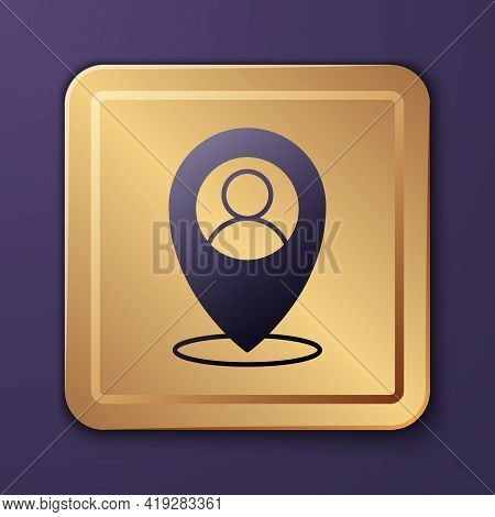 Purple Map Marker With A Silhouette Of A Person Icon Isolated On Purple Background. Gps Location Sym