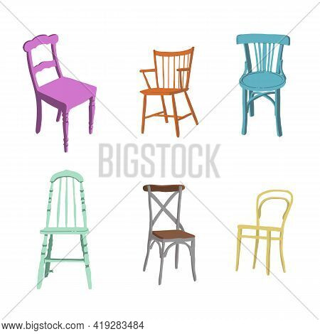 Trendy Scandinavian Flat Chairs. Interior Design Illustration. Dinning And Living Room Chairs. . Vec