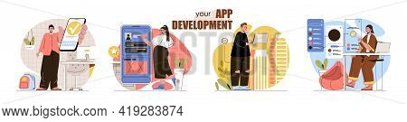 App Development Concept Scenes Set. Developers Create Mobile Software, Application Interfaces, Optim