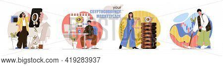 Cryptocurrency Marketplace Concept Scenes Set. Bitcoin Mining, Digital Money, Blockchain Technology,