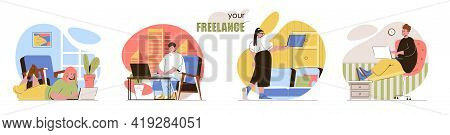 Freelance Concept Scenes Set. Remote Workers Work On Laptops Online, Freelance, Home Office, Comfort