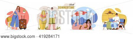 Summertime Concept Scenes Set. Men And Women Waiting At Airport, Vacation To Sea Resort, Sunbathing