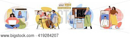 Video Conference Concept Scenes Set. Men And Women Make Video Calls, Chat Online With Friends Or Wor