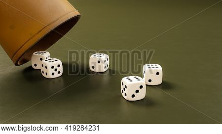 A leather cup and five dice showing six. 3D illustration
