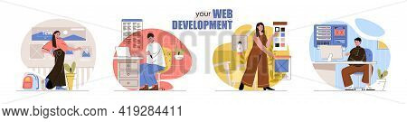 Web Development Concept Scenes Set. Developers Create Site Layouts, Interface, Fill Web Pages With C