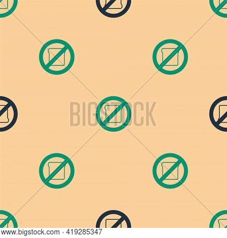 Green And Black Gluten Free Grain Icon Isolated Green And Black Background. No Wheat Sign. Food Into