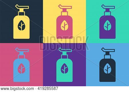 Pop Art Organic Cosmetic Icon Isolated Pop Art Background. Body Care Products. Vector