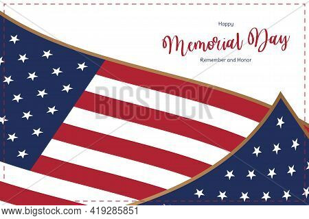 Happy Memorial Day. Greeting Card With Usa Flag On White Background. National American Holiday Event