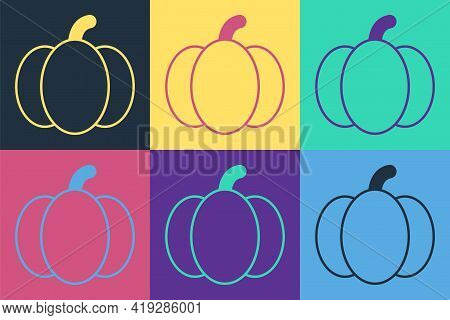 Pop Art Pumpkin Icon Isolated Pop Art Background. Happy Halloween Party. Vector