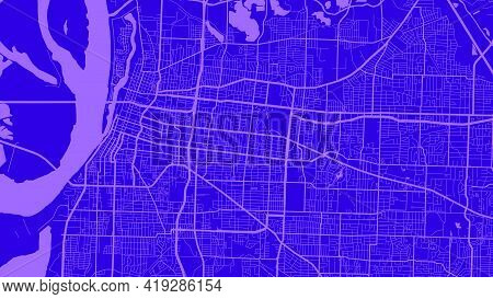 Indigo And Purple Memphis City Area Vector Background Map, Streets And Water Cartography Illustratio