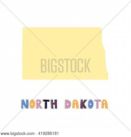 North Dakota Map Isolated. Usa Collection. Map Of North Dakota - Yellow Silhouette. Doodling Style L