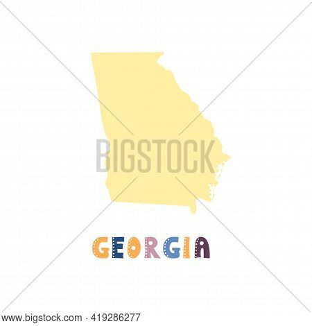 Usa Georgia Map Isolated. Usa Collection. Map Of Usa Georgia - Yellow Silhouette. Doodling Style Let