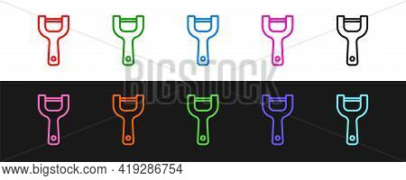 Set Line Vegetable Peeler Icon Isolated On Black And White Background. Knife For Cleaning Of Vegetab