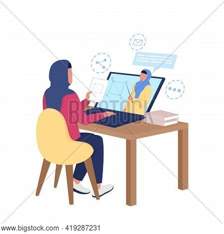 Arabian Girl Watching Remote Class On Math Flat Color Vector Faceless Character. Internet Course For