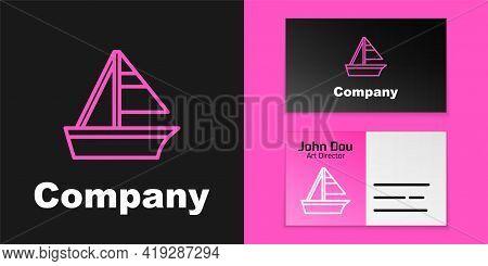Pink Line Yacht Sailboat Or Sailing Ship Icon Isolated On Black Background. Sail Boat Marine Cruise