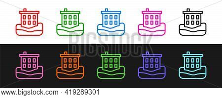 Set Line House Flood Icon Isolated On Black And White Background. Home Flooding Under Water. Insuran