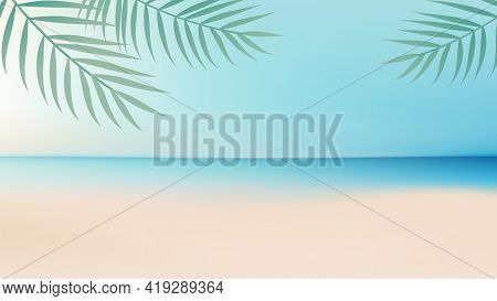 Ocean Background With Sand Beach And Clear Sky.