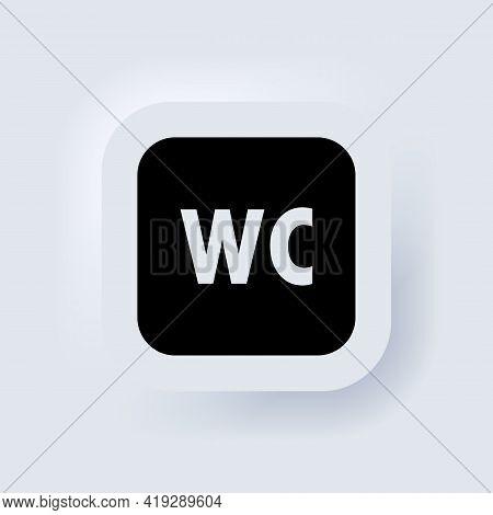 Toilet Icon Or Logo Wc Symbols. Toilet Sign. Bathroom Male And Female Icon. Neumorphic Ui Ux White U