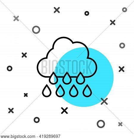 Black Line Cloud With Rain Icon Isolated On White Background. Rain Cloud Precipitation With Rain Dro