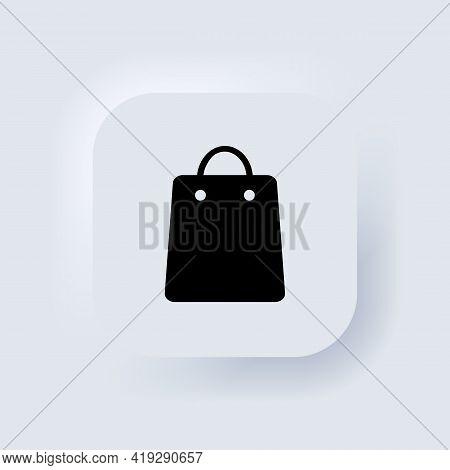 Shopping Bag Icon. Shopper Icon. Neumorphic Ui Ux White User Interface Web Button. Neumorphism. Vect