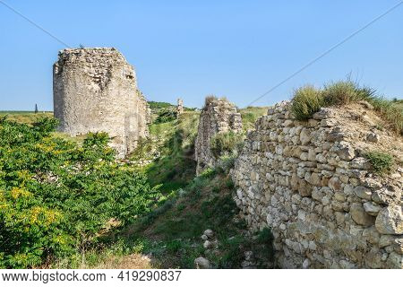 Line Of Defensive Walls And Tower Of Medieval Fortress Kalamita, Inkerman, Crimea. Stronghold Was Fo