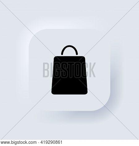 Shopping Bag Icon. Shopper Icon. Paper Bag. Neumorphic Ui Ux White User Interface Web Button. Neumor