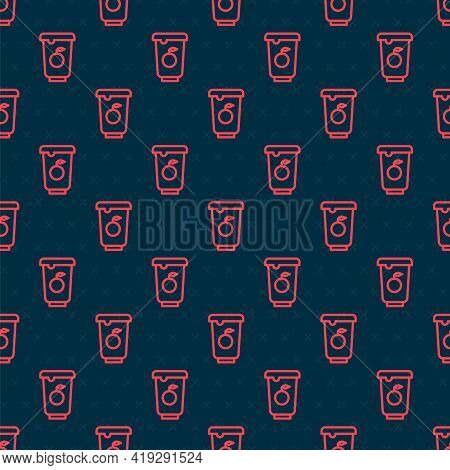 Red Line Yogurt Container Icon Isolated Seamless Pattern On Black Background. Yogurt In Plastic Cup.