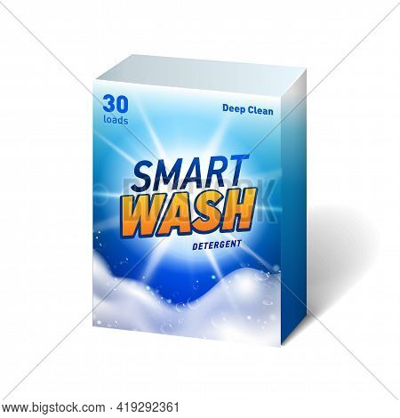 Realistic Mock Up Of Container For Detergent With Designed Etiquette. Detergent Package.