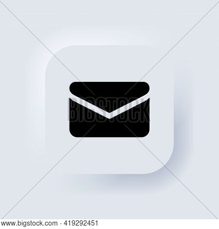Envelope Icon. Delivery Of Correspondence Or Office Documents. Neumorphic Ui Ux White User Interface