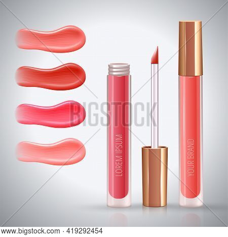 Make-up Ad Concept For Lips With Realistic Creme Smears Of Different Colors, And Liquid Lipstick, Cl