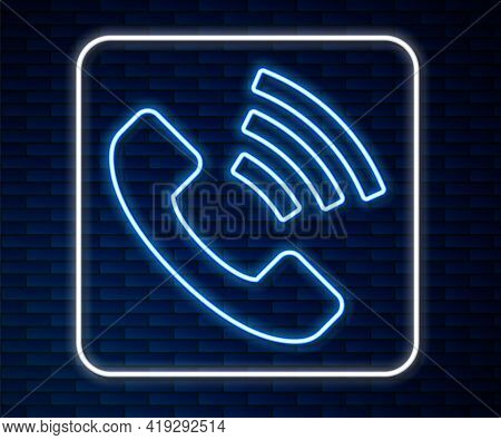 Glowing Neon Line Telephone 24 Hours Support Icon Isolated On Brick Wall Background. All-day Custome