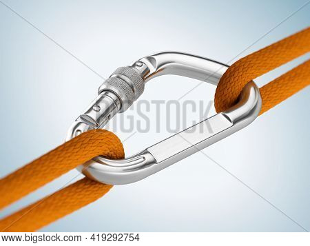 Steel carabiner hook with a climbing rope. Reliability, support concept. 3d rendering