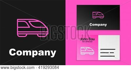 Pink Line High-speed Train Icon Isolated On Black Background. Railroad Travel And Railway Tourism. S