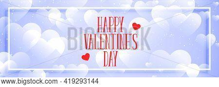 Happy Valentines Day Elegant Hearts Bokeh Banner