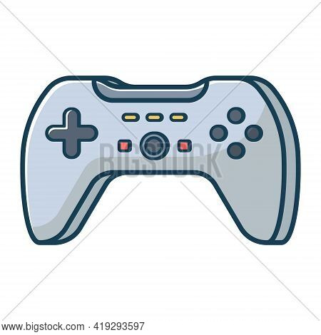 Grey Game Joystick Icon. Joypad For Console, Pc And Video Games. Vector Illustration In Flat Line St