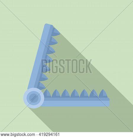 Metal Animal Trap Icon. Flat Illustration Of Metal Animal Trap Vector Icon For Web Design