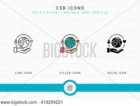 Csr Icons Set Vector Illustration With Solid Icon Line Style. Life Give Back Concept. Editable Strok