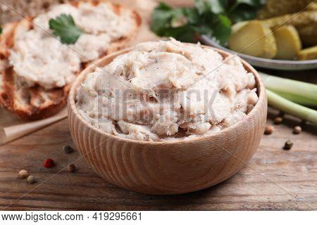 Lard Spread In Bowl On Wooden Table