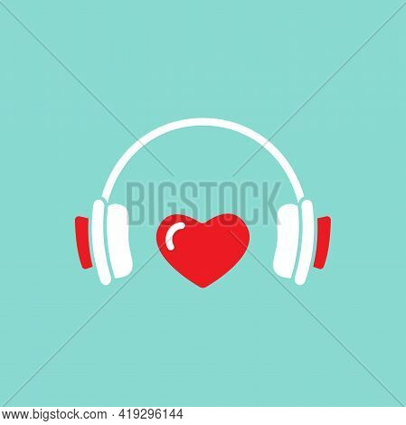 Headphones With Red Heart Icon. Flat Vector Earphones Isolated On Blue. Listen Favorite Misic, Podca