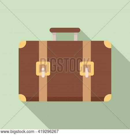 Immigrants Suitcase Icon. Flat Illustration Of Immigrants Suitcase Vector Icon For Web Design