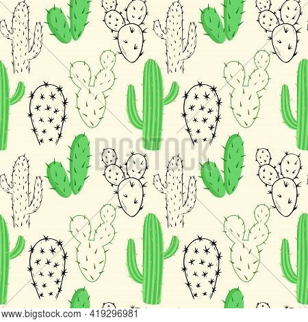 Pattern With Cacti, Vector. Seamless Repeating Background With Different Cacti. Black And Color Sket